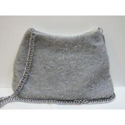 Bolso gris perla bordado